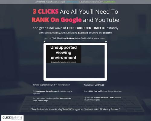Video Marketing Blaster – Rang video's op # 1 bladsy van Google en YouTub