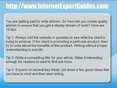 Artikel schreiben – 10 Tipps zum Schreiben von Artikeln für bezahlte Websites onlin