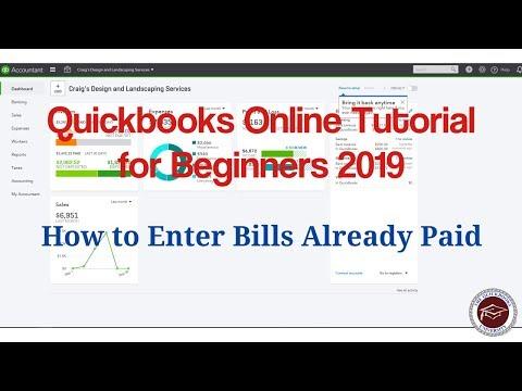 Quickbooks Online Tutorial für Anfänger 2019 – So geben Sie bereits bezahlte Rechnungen ein