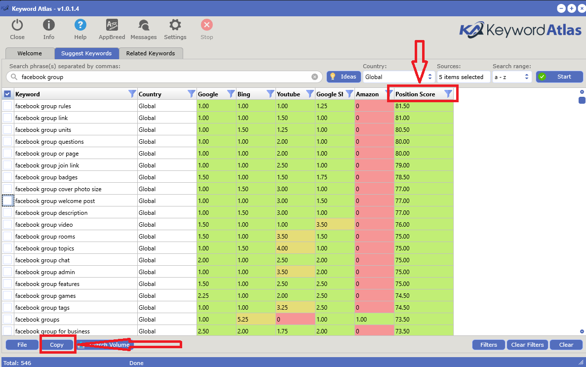 keyword atlas position score and copy the keywords